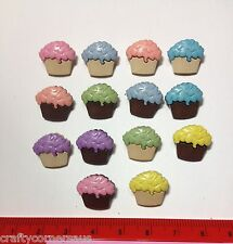 Mini cupcakes with pink blue purple icing Novelty Buttons by Dress It Up 4618