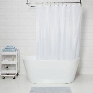 "MADE BY DESIGN Fabric Medium Weight Shower Liner | White 71""x71"" | 🆕"