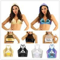 Women Halter Crop Tank Top Wetlook Metallic Bustier Blouse Vest Rave Dance Cami