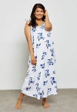 Ex Evans Plus Size Floral Print Nightdress in White and Blue Size 18 - 32