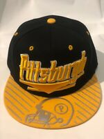 Pittsburgh New Leader Skyline Shine Steelers Black Gold Era Snapback Hat Cap