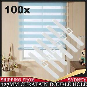 100pcs Vertical Blind Clips Top Hangers To Fit 127mm Slats Double Slot Type Part