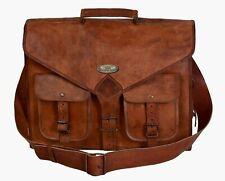"""Vintage Leather Messenger Laptop Briefcase Satchel Office Bag 18"""" Men's Genuine"""