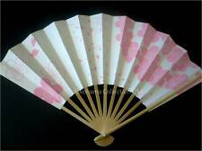 Japanese Geisha Odori Dance Hand Held SENSU Folding Fan Pink Sakura/ Made Japan