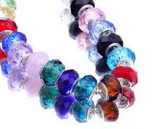 Mix Faceted Murano Lampwork Glass Beads Fit European Charm Bracelet 14MM 50 pcs