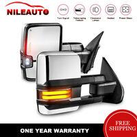 Pair Chrome Power Heated Towing Mirror LED Signal For Chevy Silverado GMC Sierra