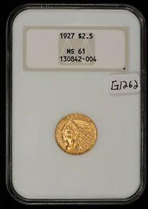 1927 G$2.50 Indian Head Gold Quarter Eagle - Fatty Slab - NGC MS 61 - G1262