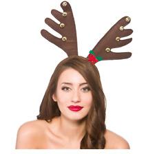 Adult Novelty Brown Reindeer Fancy Dress Antlers With Bells Xmas Headband