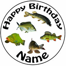 """Personalised River Fishing Mix Carp Pike Round 8"""" Icing Cake Topper Easy Precut"""