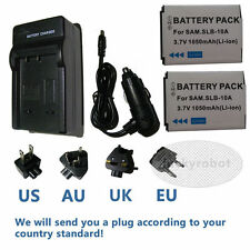 2X Battery + charger for Samsung SLB-10A WB350F WB351F WB352F ES55 1050mAh 3.7V