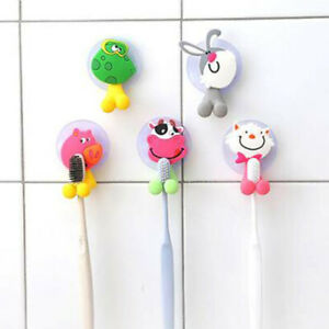 Cute Animal Silicone Toothbrush Holder Home Set Wall Bathroom Hanger Suction New