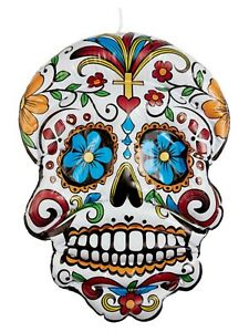 Inflatable Day of the Dead Hanging Floral Skull 100cm Halloween Party Decoration