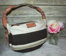 Kate Spade New York Beige Brown Striped Leather Trim Purse Shoulder Bag Tote