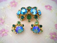 VINTAGE  MADE IN AUSTRIA   FACETED  GREEN BLUE AB CRYSTAL  BROOCH  EARRING SET