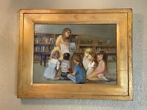 """Ruth Wright RW. Paulsen """"Children with Teacher in School"""" Oil Painting On Board"""