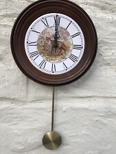 Beautiful Small Vintage Highlands Fox Pendulum Hand Turned Wooden Wall Clock