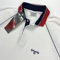 NEW VTG 1980's Spalding Men's Tennis Polo Shirt Ribbed White Red Blue • Large