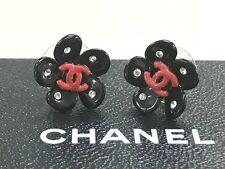 100% AUTH CHANEL black camellia red CC charm pierced earrings rare 04P w/box