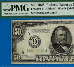 Highly Wanted - 1928 $50 FRN (( 00030300 )) PMG 30 - Minneapolis - Fancy Serial-