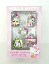 NEW Hello Kitty Sanrio Pink Silver Mini Set Five Holiday Christmas Tree Ornament