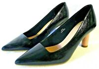 M&S INSOLIA CLASSIC BLACK LEATHER HEELED COURT SHOES UK 5.5 VGC MARKS & SPENCER