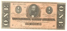 1864 $1.00 Confederate States Currency, T-71 / Uncirculated