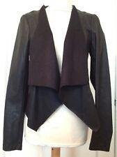 Vila Brige Blazer Black Faux Leather Lagenlook Open Jacket Size M