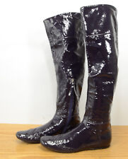 Miu Miu Italy Womens Sz 35.5 Purple Glossy Leather Knee High Fitted Boots
