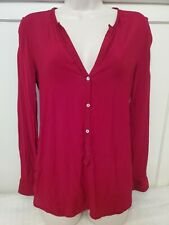 Zara Woman Red Long Sleeve Silk Shirt Top, Women's Medium