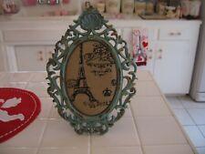 Cute Shabby Cottage Ornate Aqua Colored Frame With Paris Decor