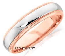 14K TWO TONE GOLD WEDDING BANDS,MENS WOMENS WHITE & ROSE GOLD WEDDING BANDS 5MM