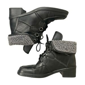 Vintage GABOR Boots 4.5 UK Black Leather Square Toe Y2K Ankle Fleece Cosy Winter