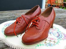 Original True Vintage 40's Light Brown Leather Unworn Shoes Size 4 Goodwood