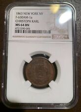 1863 Christoph Karl F-630AM-1a Civil War Era Store Card NGC MS64 BN