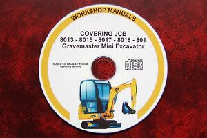 JCB 8013, 8015, 8017, 8018, 801 GRAVEMASTER MINI EXCAVATOR SERVICE MANUAL