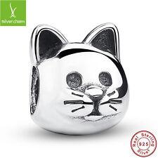 925 Sterling Silver Cute Cat Animal Fit Charm Bead Bracelet Christmas DIYJewelry