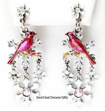 KIRKS FOLLY WINTER SONG CARDINAL SNOWFLAKE PIERCED POST EARRINGS  silvertone