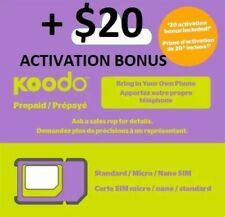 LOT of 20 Koodo Sim Card (Regular, Multi, Nano) Prepaid $20 credit, Wholesale