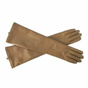 Women Sheepskin Leather Gloves Lady Winter Fashion Long Style Arm Sleeve Mitten