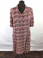 J Jill Womens Dress Button Collar Short Tab Sleeve Red Print Petite Size 16