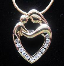 GOLD MOTHER AND CHILD NECKLACE PENDANT W/CZ STONES