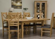 Regent solid oak furniture oval extending dining table
