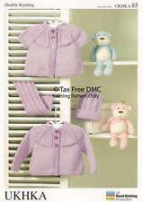 VAT Free Hand Knitting Pattern DK Baby Child Cardigans Scarf & Hat New UKHKA85