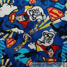 BonEful Fabric FQ Cotton Quilt Flannel Marvel Superman Hero Star DC Comic Boy US