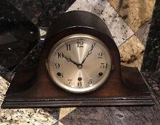 Antique Anvil Mantle Pendulum Clock Triple Chime Wind Up Key Silent Wood Working