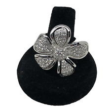 Lia Sophia Ring Silvertone Wild Rose Flower Clear Crystals Statement Size 8