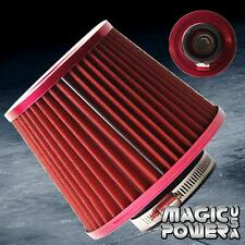 "3"" Universal  RED INLET HIGH FLOW SHORT RAM/COLD INTAKE ROUND CONE AIR FILTER"
