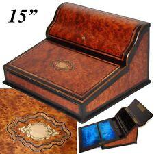 "Antique Napoleon III Era Marquetry 15"" Ecritoire, Writer's Box, Burled Amboyna"