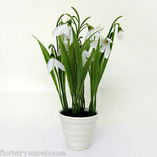 Artificial Snowdrops in a White Pot 23cm/9 Inches Spring Flowers