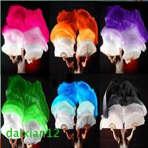1.5m 1.8m Long Belly Dance 100% Silk Bamboo Fan Veil 1 Pair(left+right) 6 Colors